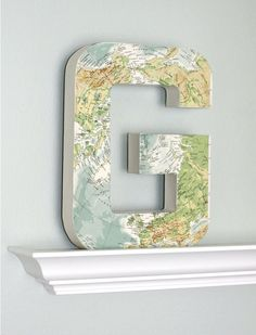 Large Vintage Map Letter G 12 inches Tall, Home Decor. $35.00, via Etsy.