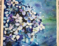 Watercolour painting of blue Hydrangea flowers on 200 g/m paper.Defined by white ink and acrylic paint. Watercolour Painting, Watercolor Flowers, Hydrangea Flower, White Ink, Art Direction, Behance, Paintings, Gallery, Drawings