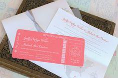Modern Boarding Pass Wedding Invitation White Ink by beyonddesign