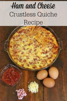 This ham and cheese crustless quiche recipe is incredibly easy to make, and it will be a hit with your family! Perfect for a fast holiday dish, it can also be served for breakfast, brunch, or even din (Spinach Recipes Quiche) Breakfast Quiche, Breakfast Dishes, Breakfast Time, Breakfast Recipes, Breakfast Casserole, Real Food Recipes, Cooking Recipes, Healthy Recipes, Recipes With Ham