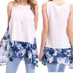 BEAUTIFUL FLORAL CHIFFON PRINT TOP! Sleeveless Knit Top Has Floral Chiffon Detail Trim. Tops