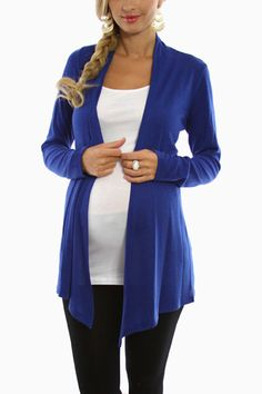 Royal Blue Maternity Cardigan @PinkBlush Maternity  another comfy staple you can use post baby