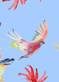 Birds Van Goh Blue by Voutsa