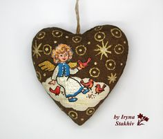 Angel ornament, Christmas tree decor, Heart decoration, Christmas ornament handmade, Hanging coffee toy, Christmas gift, Painted angel by ColorPictureStakhiv on Etsy