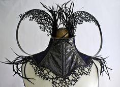 Neck corset | Imaginarium Apparel Designs.  Fabric and feathers.