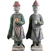 Superb pair of large China Ming pottery figures, 1368-1644!
