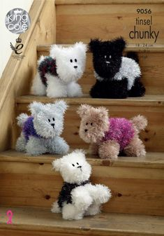 King Cole Tinsel Chunky Pattern - Westie Style Dogs - This pattern gives instructions for 2 sizes of Westie. Uses King Cole Tinsel Chunky and Dollymix DK. Chunky Knitting Patterns, Christmas Knitting Patterns, Knitting Yarn, Crochet Patterns, Knitting Books, Crochet Books, Westie Puppies, Westies, Dog Crafts
