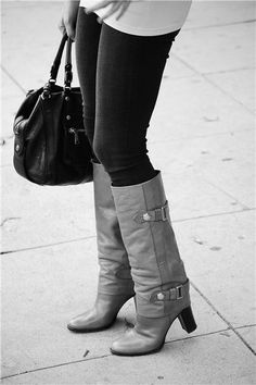 Grey boots with buckles