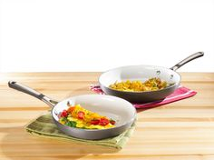 The Simply Calphalon® omelet pans in this set feature a durable ceramic nonstick cooking surface for easy food release, low-fat cooking and fast cleanups!
