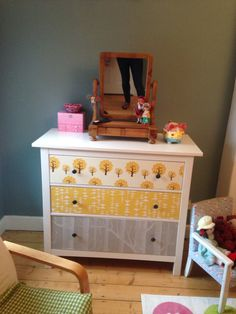 Wallpapered hemnes ikea drawers. Missprint wallpaper, cole & son woods and ferm living dotty. Applied with mod podge.