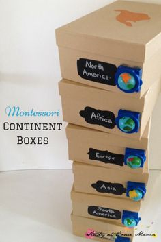 Montessori Continent Boxes and an exciting announcement about hands-on geography with kids! How to Make Montessori Continent Boxes, a fun hands-on learning component to a Montessori Geography curriculum - includes list of materials & tips! Montessori Homeschool, Montessori Classroom, Montessori Activities, Learning Activities, Montessori Elementary, 3rd Grade Activities, Dinosaur Activities, Hands On Geography, Geography For Kids