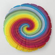 Rainbow colors twirl Floor Pillow by uteb Designer Pillow, Pillow Design, Floor Pillows, Throw Pillows, Pillow Shams, Rainbow Colors, Plush, Shapes, Stitch