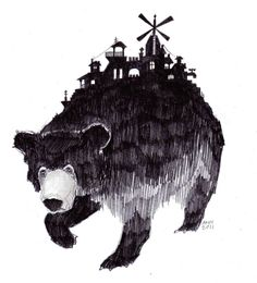 Introducing artwork by Ann Pajuväli from Estonia. A bear with a city on it's back, very my style.
