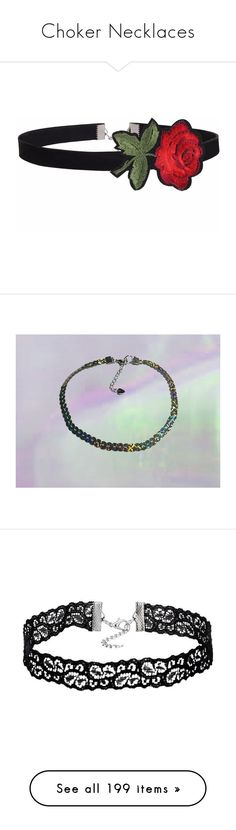 """""""Choker Necklaces"""" by adorablequeen ❤ liked on Polyvore featuring jewelry, necklaces, trend, women, flower choker necklace, pastel necklace, embroidery necklace, grunge jewelry, flower jewellery and collar necklaces"""