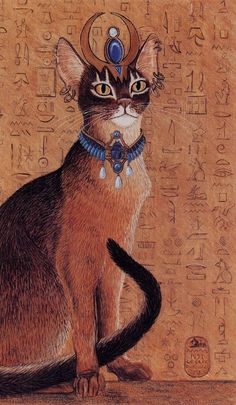 Egyptian Abysinnian Cat with Headdress Print of by EYEDEAS on Etsy
