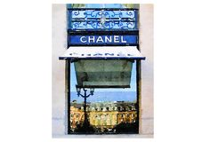 ART from Watercolor Painting Chanel Paris Store Storefront Shop Fashion Illustration Wall Home Decor (15.00 USD) by LAscandal