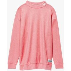 top pink coral VICTORIA'S SECRET PINK Stadium Mock Neck Pullover... ❤ liked on Polyvore featuring tops, sweaters, pink sweater, pink top, coral top, victoria's secret and red sweater