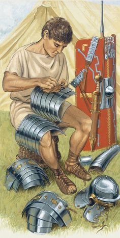 Life in a Roman camp. Art by Peter Connolly.