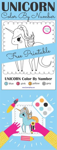 Unicorn Color By Number Free Printable from Growing Play