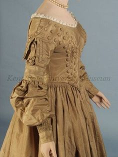 """Dress and pelerine, ca 1839 US, Kent State This color was once called """"drab"""".   Threading Through Time"""