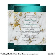 Shop Wedding Marble White Gray Golden Teal Green Invitation created by luxury_luxury. Teal Wedding Invitations, Personalised Wedding Invitations, Custom Invitations, Personalized Wedding, Teal And Gold, Teal Green, Gold Wedding, Dream Wedding, Wedding Stuff
