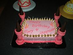 Castle cake with ice cream cone turrets.