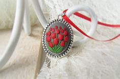Polymer clay jewelry, Flower necklace pendant, Tulips