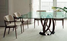 INFINITY DINING TABLE インフィニティー ダイニングテーブル  ∞(インフィニティー)の記号から発想を得てデザインされた 特徴的なベースは、まるで芸術作品のように美しいデザインです。  NISSA ダイニングチェア(写真左)の詳細は下記をご覧ください。インフィニティー ダイニングテーブル   ACTUS