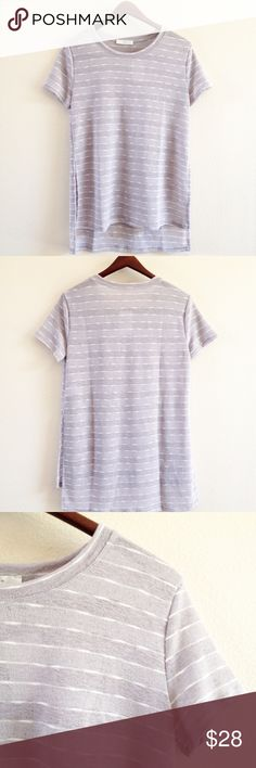 | new | grey striped top offers welcome new with tag size small semi sheer grey striped top. •860845•  instagram: @xomandysue Lush Tops Tees - Short Sleeve