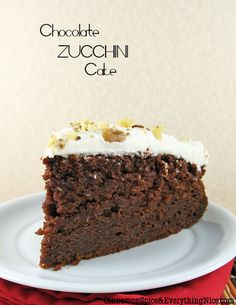 Chocolate Zucchini Cake with Sour Cream Frosting | Cinnamon Spice & Everything Nice