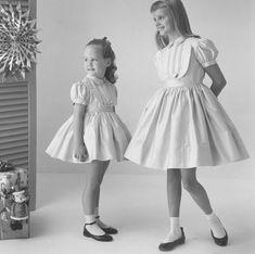 George Wood's Everglaze cotton satin dresses by Kate Greenaway Vintage Kids Fashion, Vintage Kids Clothes, Vintage Girls Dresses, Cute Girl Dresses, Little Girl Fashion, Lovely Dresses, Flower Girl Dresses, Girly Girl Outfits, Kids Outfits