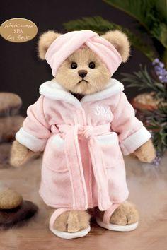 Patty Pampered by Bearington. Love this spa bear - looks just like me! My Teddy Bear, Cute Teddy Bears, Teady Bear, Teddy Bear Pictures, Teddy Bear Clothes, Boyds Bears, Love Bear, Bear Art, Build A Bear