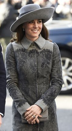 Kate's unusually large hat with a slanting brim was made by 90-year-old John Boyd, a new choice of milliner for the Duchess
