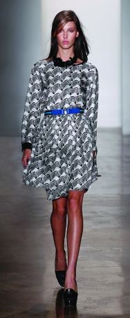 Pleated zebra skirt and matching blouse.  Peter Som Spring 2012