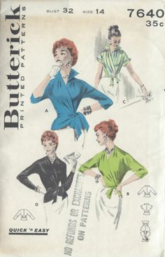 1950s Vintage Sewing Pattern B32 WRAP-OVER BLOUSE (1006)
