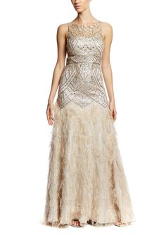 SUE WONG Ball Gown with Feather Detail   ideel