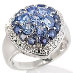 2.27ct Tanzanite and Iolite Sterling Silver Cluster Ring Size 5 225S #EngagementRing