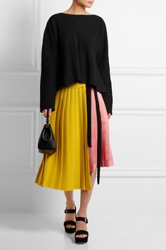 Yellow crepe, pink satin Tie and concealed button fastenings at front 51% viscose, 31% triacetate, 18% polyester Dry clean Made in Italy As seen in THE EDIT magazine