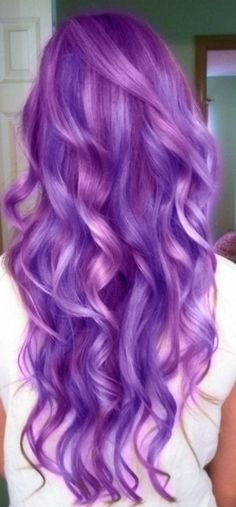 long purple curls- Dont like the entire hair dyed like this but maybe the tips for summer