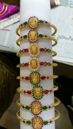 Light Weight Gold Temple Jewellery Bangles, Gold Temple Jewellery Bangle Designs, Temple Bangle Models.