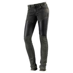 DEPT Slim Fit Jeans Damen in grau-denim und stylishen Einsätzen in Leder-Optik auf beiden Oberschenkeln.