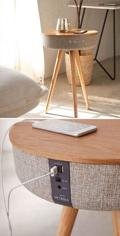 Bluetooth Speaker Table By Victrola Smart Furniture, Design Furniture, Unique Furniture, Hammock Swing Chair, Swinging Chair, Speaker Table, Contemporary Stairs, Wooden Wall Shelves, Design Living Room