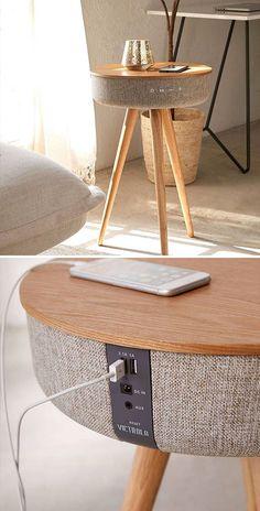 Bluetooth Speaker Table By Victrola Smart Furniture, Unique Furniture, Furniture Design, Hammock Swing Chair, Swinging Chair, Speaker Table, Küchen Design, Interior Design, Design Ideas