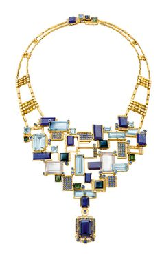 Chow Tai Fook's Reflections of Siem Halcyon necklace, with emerald-cut aquamarines, lapis lazuli, tourmalines and blue sapphires mounted to resemble the floating villages on Lake Tonlé Sap, forms part of the Chinese jeweller's fourth annual collection of high jewellery.