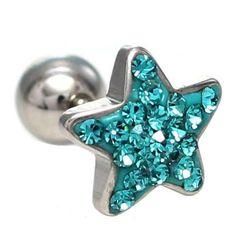 16G Twinkle big star Body Piercing Jewelry 6mm, 16g (1.2 mm), Bars & Barbell #BodyJewelry