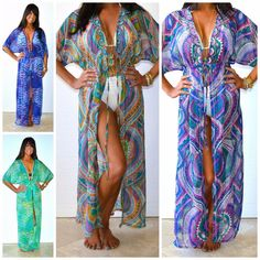 Hippie Chic Bohemian Printed Maxi Kimono Duster Cover Up Beaded Chiffon S M L XL #IndiaBoutique #KimonoCoverUp #SummerBeach