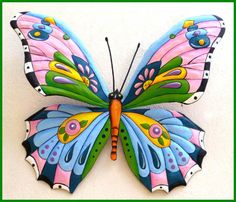 """Metal Butterfly Art - Hand Painted Metal Wall Hanging - Pink Blue 24"""" - See more tropical designs at www.TropicAccents.com"""