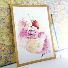 ARTFINDER: Strawberry mini cake by Enya Todd - Gold broader and gold flakes on the cake