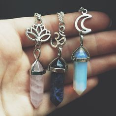 Crystal Quartz Charm Necklaces and Chokers - Rose Quartz Amethyst Opalite Blue Sandstone Reiki Chakra Boho Bohemian Hippie Tumblr Jewelry (18.00 CAD) by SavannahAvril
