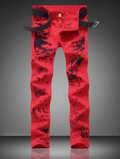 Zipper Fly Pocket Paint Splatter Straight Jeans - RED 38